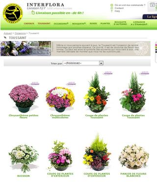 Toussaint 2013, choix proposé par Interflora sur son site