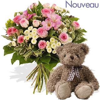 Très mignon Harry l'ourson avec ce bouquet Interflora
