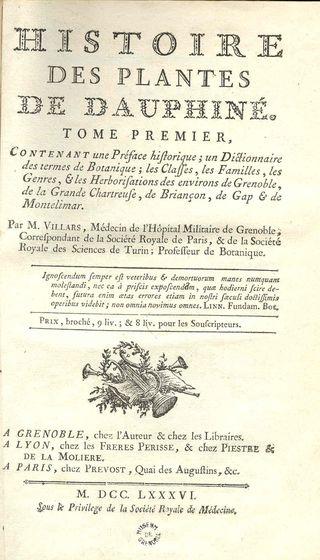 Dominique Villars histoire des plantes 1786