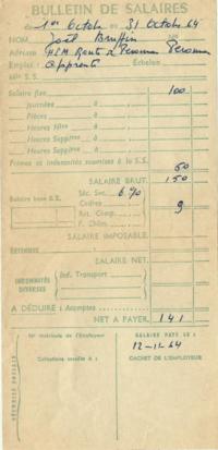 Fiche paye 1964