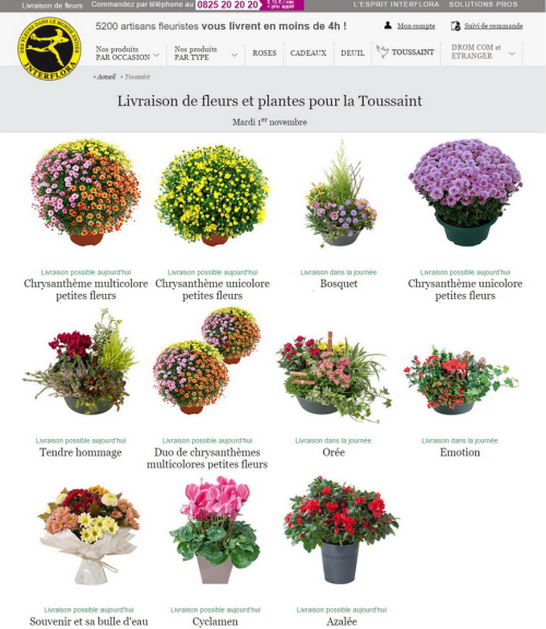 Interflora toussaint 2016