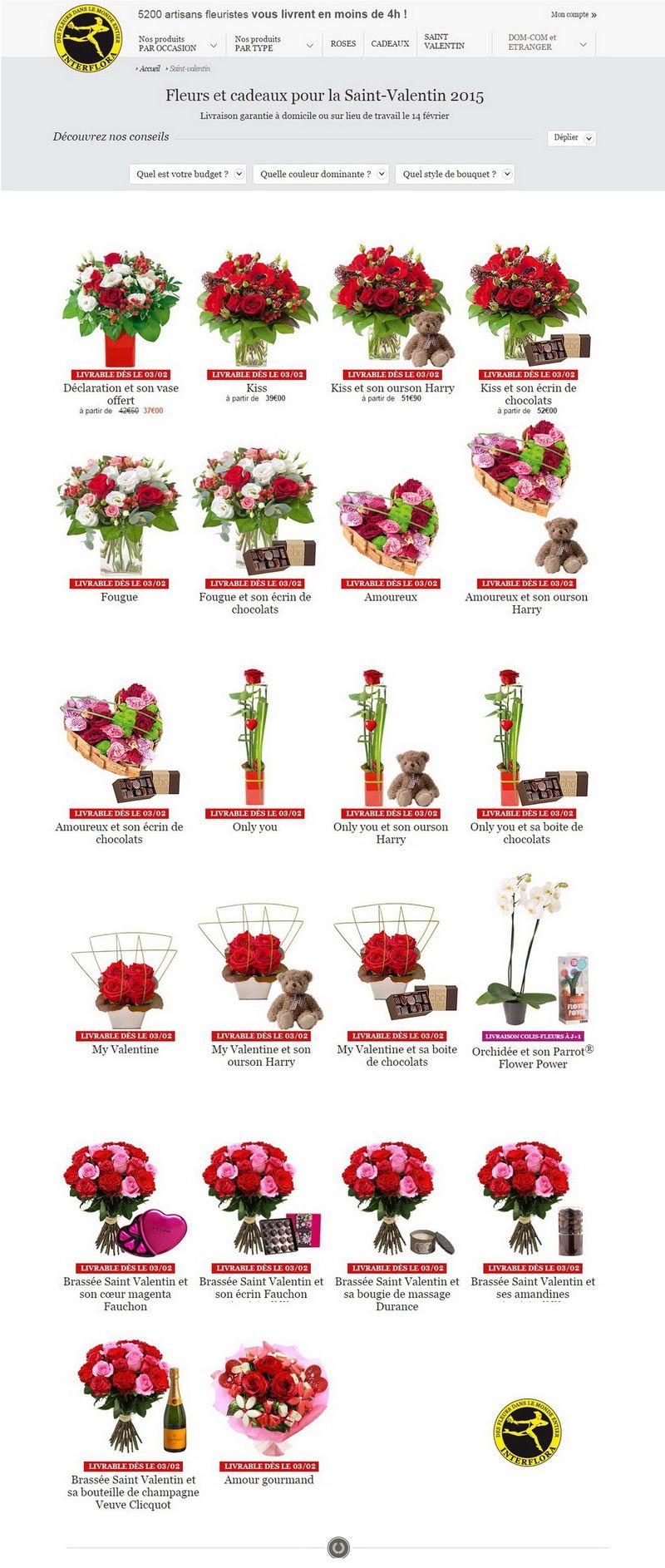 Interflora page St valentin 2015